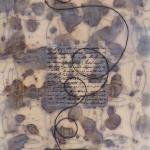 "A List of Possibili-teas Encaustic Mixed Media 22"" x 10"" x 1.5""  stretched textile"